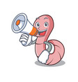 with megaphone worm character cartoon style vector image vector image