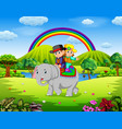 young couple riding elephant in beautiful nature vector image
