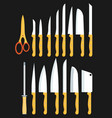 different types of kitchen knives set vector image