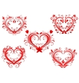 Elegant floral red valentine hearts set vector image