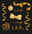 set of isolated golden design elements on a black vector image
