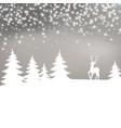christmas background winter landscape with deer vector image