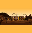 background scene with housese in field vector image