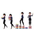Beautiful businesswoman carrying folders success