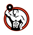 Bodybuilder Lifting Dumbbell Retro vector image vector image