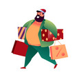 cartoon man in santa hat with shopping bag vector image