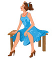 Cartoon young woman sitting on brown bench in blue vector image vector image