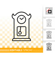 cuckoo clock simple black line icon vector image