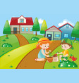 cute kids planting trees vector image