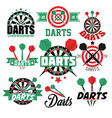 darts game isolated icons sport aim or target vector image