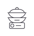 double boiler line icon sign vector image vector image