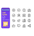 essential line icons set vector image