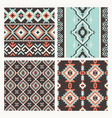 ethnic tribal seamless patterns set vector image vector image