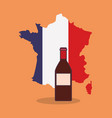 france culture card with map vector image vector image