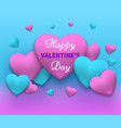 happy day valentines pink and blue vector image vector image