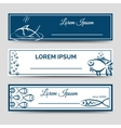 Horizontal banner set with fish vector image