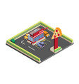 isometric pizza store drive thru vector image vector image