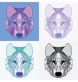 Low poly lined wolves set vector image vector image
