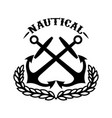 nautical emblem template with wreath and crossed vector image vector image