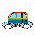 nice hippie minibus with cloud design vector image vector image