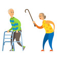 old lady with stick angry woman yelling at male vector image