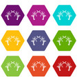 paintball guns icon set color hexahedron vector image vector image