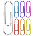 paper clips in seven different colors vector image vector image