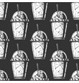 pattern with milkshake vector image vector image