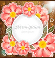 pink flowers on wooden background vector image vector image