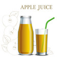 realistic apple juice in a jar and a glass vector image vector image