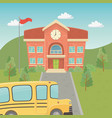 school building and bus in landscape scene vector image