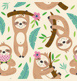 seamless pattern with cute sloth vector image vector image
