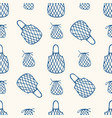 seamless pattern with reusable mesh bags vector image vector image