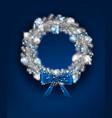 silver christmas wreath vector image vector image