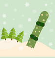 snowboard stick out of snow before a spruce vector image vector image