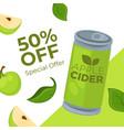 special offer on apple cider drink 50 percent off vector image
