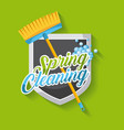 spring cleaning poster with broom shield emblem vector image