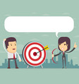 successful business woman aiming target with bow vector image vector image