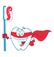 Superhero Tooth With Toothbrush vector image vector image