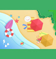 top view cartoon ocean sea beach background vector image