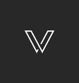 V letter logo minimalistic thin line mockup vector image vector image