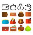 wallet icon set money symbol purse wallet vector image