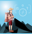 woman tourist with compass and set icon vector image vector image