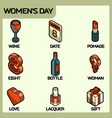 womens day color outline isometric icons vector image
