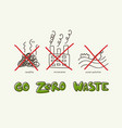 zero waste banner with lettering and doodle vector image vector image