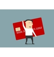 Businessman with big red credit card vector image