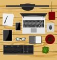 set of digital devices and office supplies vector image