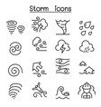 storm icon set in thin line style vector image