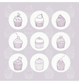 Nine hand drawn outline cupcakes vector image