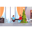 african american couple sitting at cafe table vector image vector image